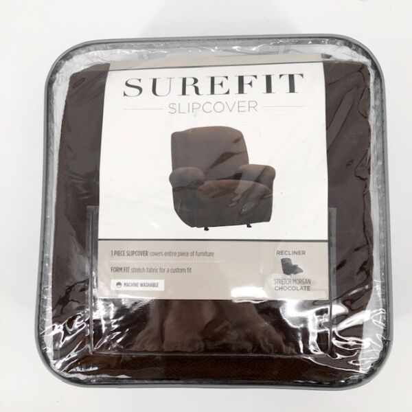 SureFit Slipcover Recliner Form Fit Stretch Morgan Fabric Chocolate Brown 78 88quot; $49.99