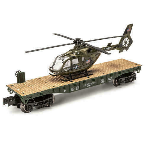 MENARDS O GAUGE US ARMY FLATCAR WITH US ARMY MILITARY HELICOPTER LIONEL $29.75