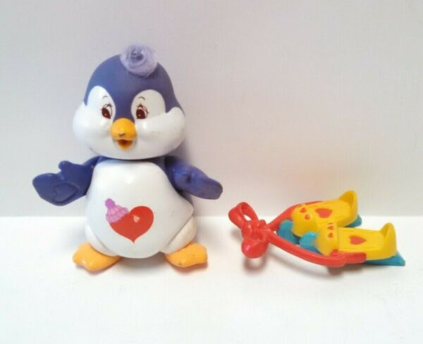 Vintage Care Bears Cozy Heart Penguin Figure With Ice Skates Accessory 1985 AGC