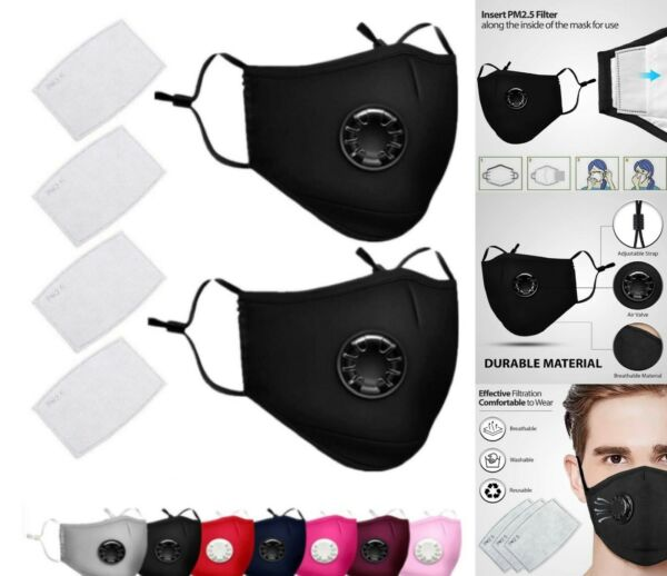 2 pcs Reusable Washable Cloth Face Mask with Air Port and 2 PM2.5 Carbon Filters