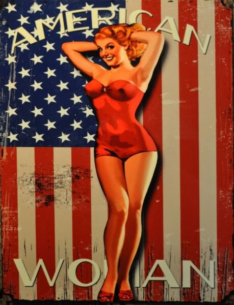 TIN SIGN quot;American Womanquot; Pinup Babe Deco Garage Wall Decor $7.35