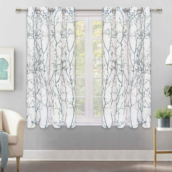 VERTKREA Curtains Semi Sheer Window Curtains Tree Branches Drapes Linen Panels G