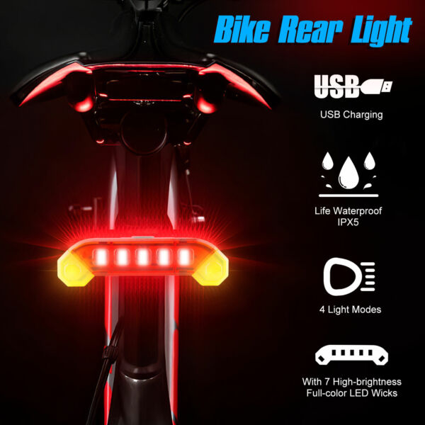 USB Rechargeable LED Bike Tail Light Bicycle Rear Cycling Warning Lamp Safety US $8.97