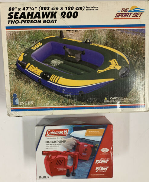 Vintage 2000 Intex Seahawk 200 2 Person Inflatable Boat amp; Coleman Pump New $129.99