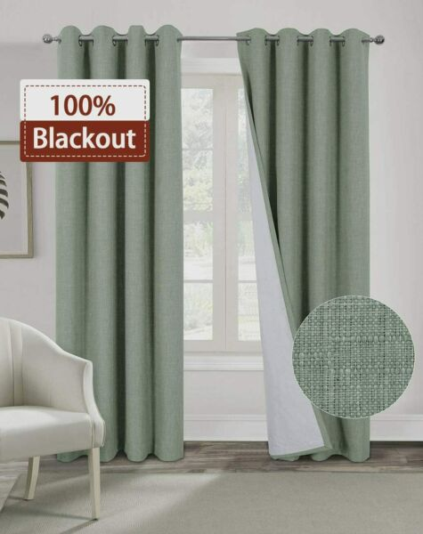 Alexandra Cole 100% Blackout Curtains for Bedroom Living Room Burlap Curtains Th