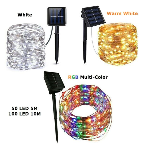 Outdoor Waterproof Copper Wire Solar String Lights LED Garden Xmas Party Decor $15.99