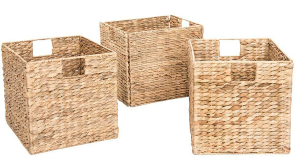 Decorative Hand Woven Small Water Hyacinth Wicker Storage Baskets Set of Three $56.00