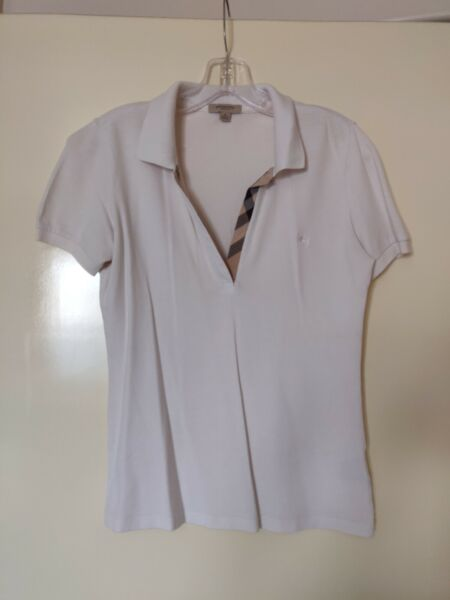 AUTHENTIC WOMENS BURBERRY WHITE POLO $55.00