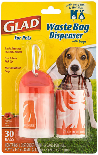 Glad for Pets Extra Large Tropical Breeze Scented Dog Waste Bags and Dispense... $3.82