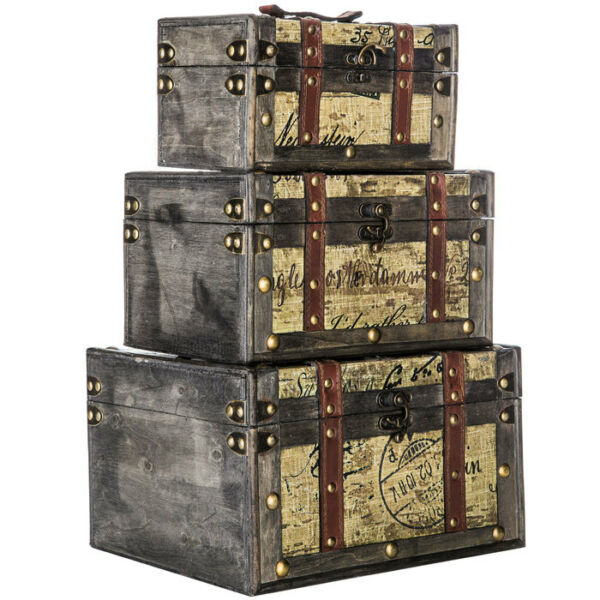 Vintage Replica Wood Storage Trunk Box Set of 3 Antique Style Chests NEW
