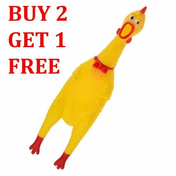 Large Rubber Chicken Screaming Shrilling Puppy Chewing Squeeze Kids Dog Toys USA $5.99