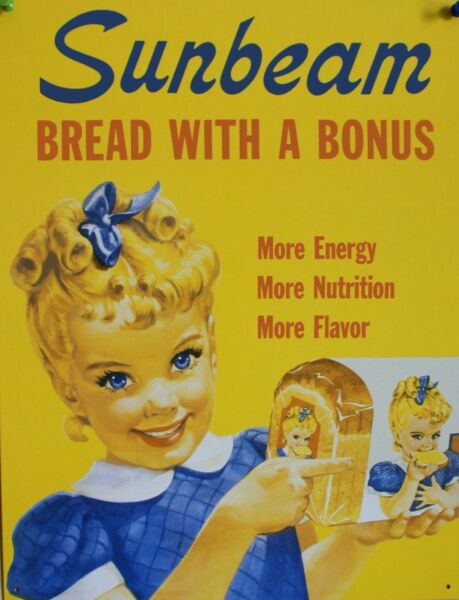 TIN SIGN quot;Sunbeam Bread with a Bonusquot; Food Art Deco Garage Wall Decor $7.35