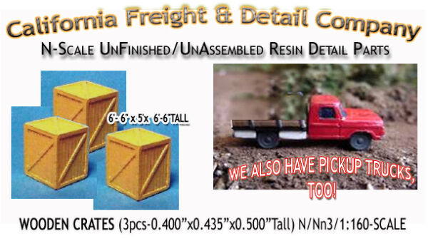 California Freight WOODEN CRATES BOXES LARGE 3pcs N 1:160