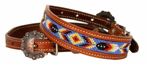 Showman Couture Beaded inlay leather dog collar with copper buckle. NEW $19.95