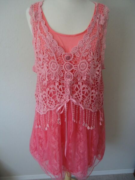 Pretty Angel Size XL Coral Pink Lined Lace and Crochet Dress Tunic NWT