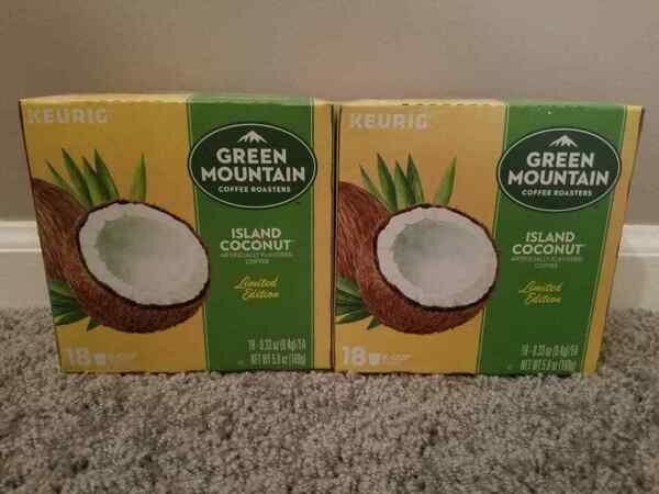 2 Boxes of Keurig Green Mountain Island Coconut K Cups 36 Total