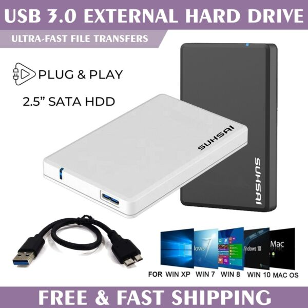 Suhsai External Hard Drive 2.5quot; USB3.0 Ultra Fast Slim for Laptop MAC PS4 Xbox