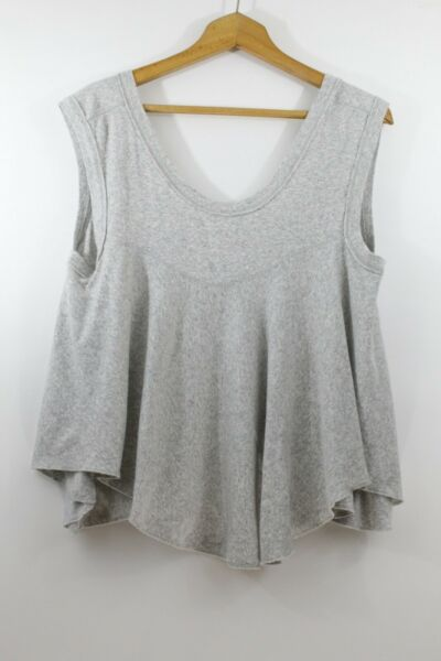Free People Small Tank Top Swing Trapeze Knit Gray Deep V Back Stretch Boho $24.97