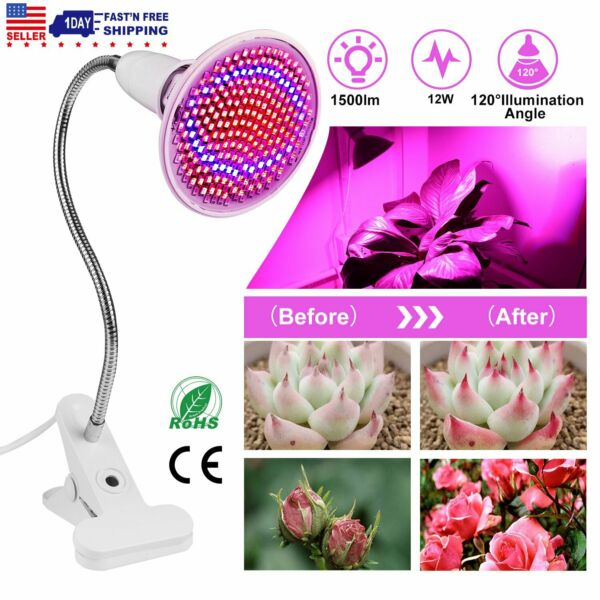LED Growing Light Hydroponic Full Spectrum Indoor Flower Clip Lamp Adjustable $17.49