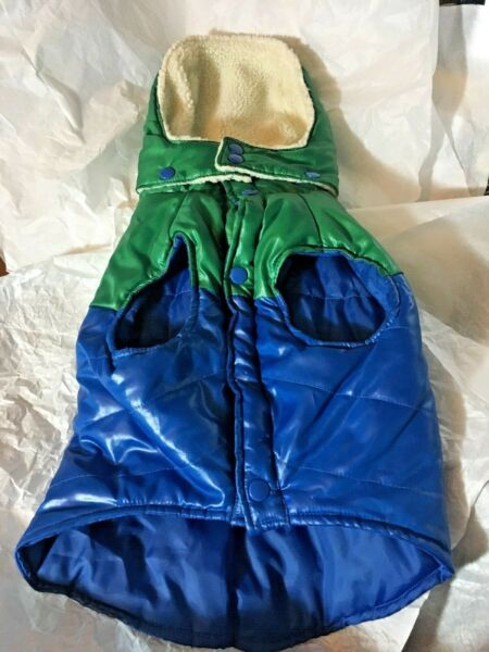 Old Navy Dog Supply Co. Quilted Blue Green Puffy Jacket SMALL Winter DOG COAT $8.99