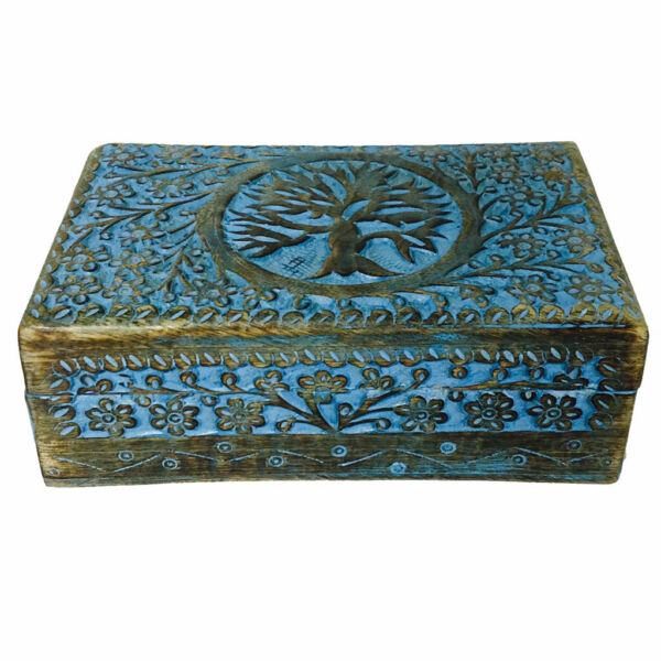 NEW Blue Painted Tree of Life Carved Wooden Box 5x8quot; Wood Celtic Knot Chest