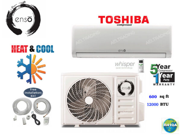 12000 BTU Ductless Air Conditioner Heat Pump Mini Split 110V 1 Ton With KIT