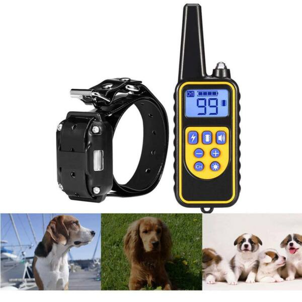 Dog Shock Collar w Remote Waterproof Electric For Large 800 Yard Pets Training $26.59