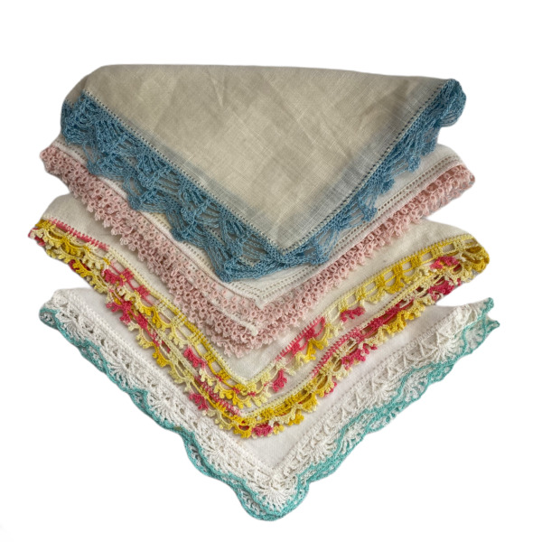 Vintage Handkerchiefs Lot of 4 with Pastel Tatted Crocheted Edges