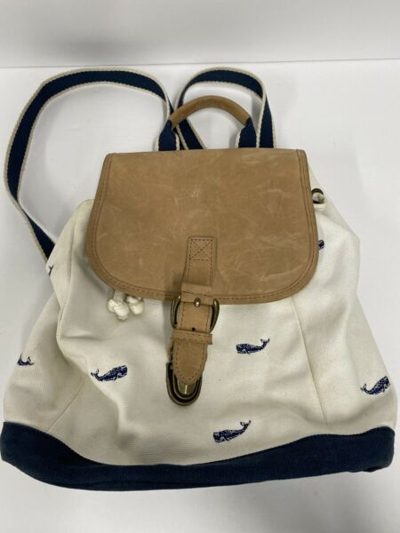 LL Bean Backpack Small Canvas Leather Sling Handbag Embroidered Whales Rare $34.99