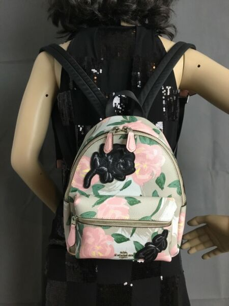 Coach F25869 Camo Rose Floral Print Mini Charlie Backpack Multi Pink $109.00