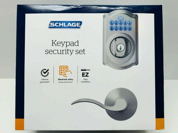 NEW Schlage Keypad Security Set w Elect Entry Satin Nickel CAMELOT ACC