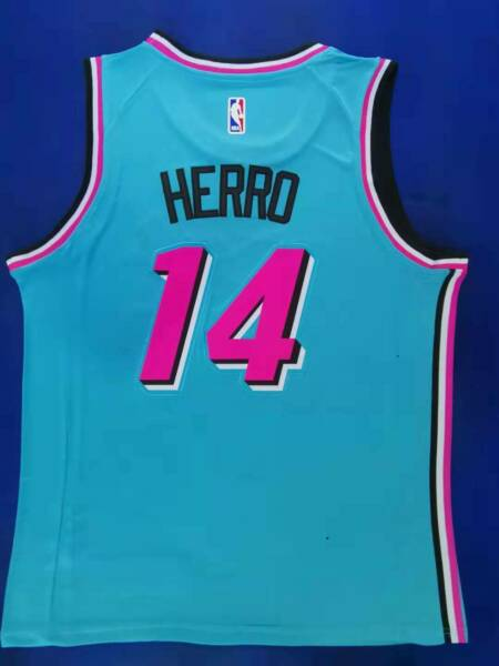 HOT Men#x27;s Miami Heat Tyler Herro #14 City Edition BLUE jersey S 2XL $41.06
