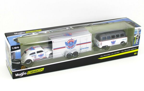 1:64 MAISTO TEAM HAULER Volkswagen Samba Van Beetle amp; Enclosed Trailer 3pc NIB $15.99