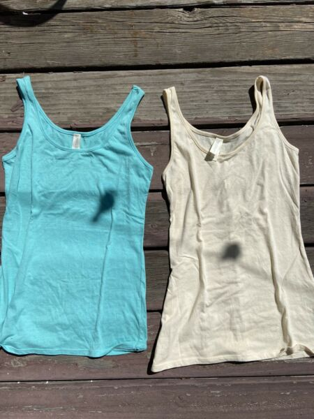 Threads For Thought Small Tank Tops Organic Cotton Blend Small Aqua amp; Cream $4.99