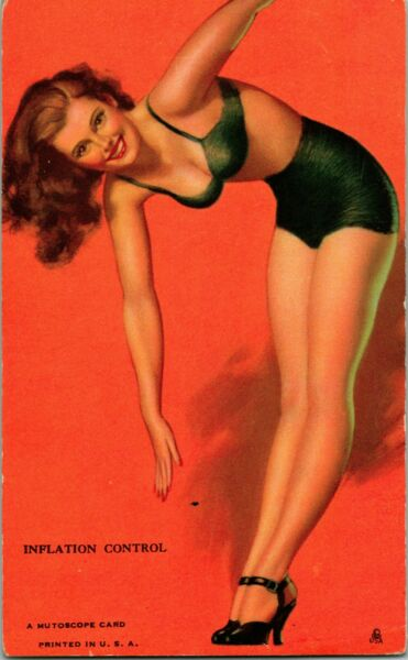 Vintage 1940s Mutoscope Glamour Girls Pin Up Card Inflation Control