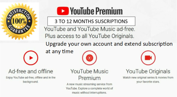 Youtube upgrade own to premium from 3 to 12 months Worldwide Fast and Easy
