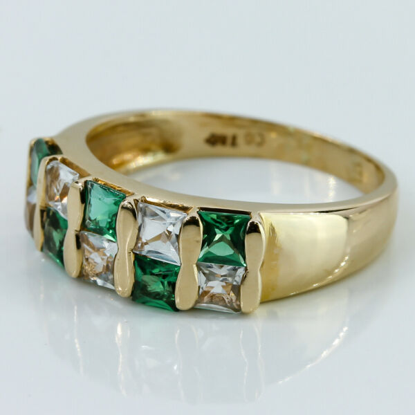 14k Green amp; Clear CZ Stone Ring