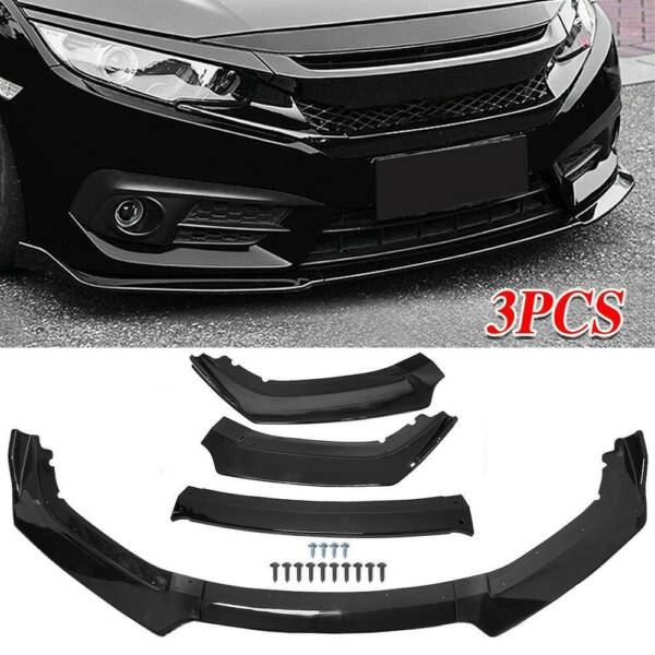 3PCS SET Gloss Black Front Bumper Spoiler Wing Lip Fit For 2016 2020 Honda Civic