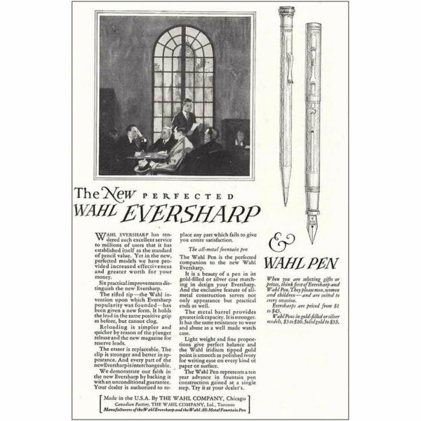 1924 Wahl Eversharp and Wahl Pen: The New Perfected Vintage Print Ad