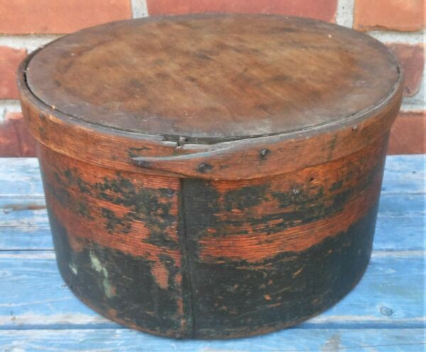 Very Good Old Black Painted Antique Covered Pantry Box 12#x27;#x27;