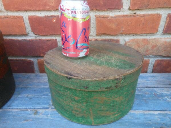 Very Good Old Green Painted Antique Covered Pantry Box 9 3 4#x27;#x27;