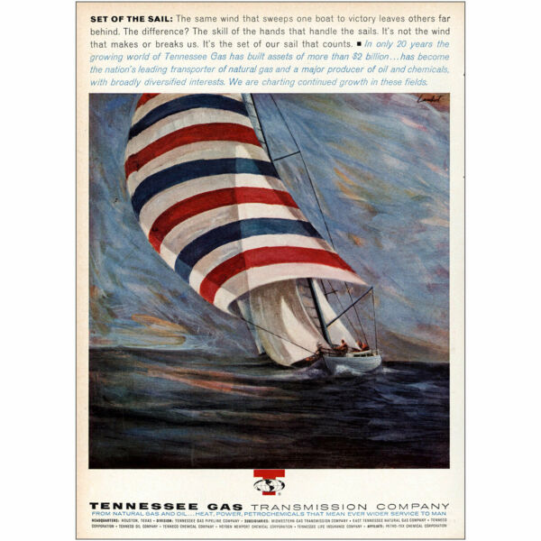 1964 Tennessee Gas: Set Of the Sail Vintage Print Ad