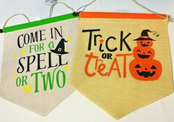 2X HALLOWEEN Decor Burlap Material Garden Flag 11quot;X12.5quot; Pumpkin Witch Spell NEW