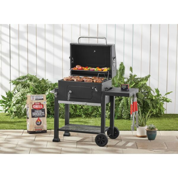 Mobile Cooker Char Griller Smoker Charcoal Food Grill Heavy Duty BBQ Black NEW