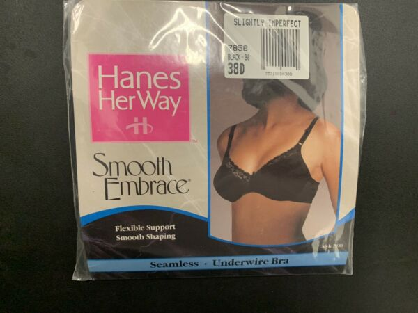 Hanes Her Way Vintage 38 D Bra Seamless Underwire Black Nylon NWT New VTG