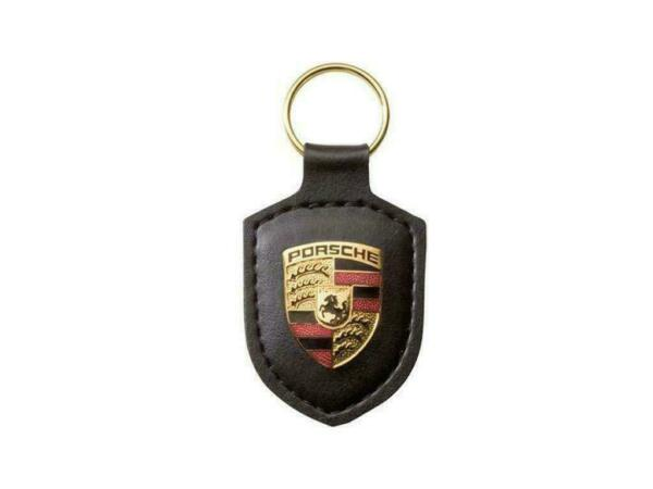 Black Porsche Leather Crest Key chain NEW in Plastic Packaging from USA