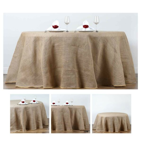 Fine Rustic Burlap Round Tablecloth For Wedding Party Banquet Events Decoration