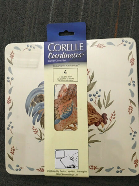Corelle Coordinates Country Morning Reston Lloyd Set of 4 Gas Burner Covers NEW $18.49