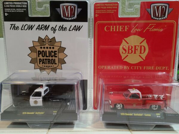 M2 MACHINES LOT OF TWO 1976 CHEVROLET SCOTTSDALE POLICE AND FIRE SQUARE BODY