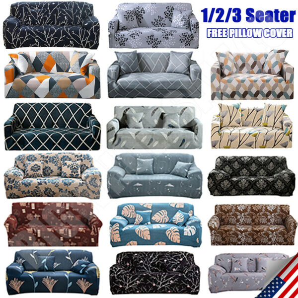 Printed Slipcover Sofa Covers Spandex Stretch Couch Cover Furniture Protector $22.87